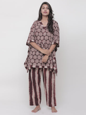 Lotus Stem Brown - Kaftan Suit