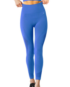Rose: Mesh Seamless Legging With Ribbing Detail - Blue by glowyoga | product-type.