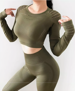 Zoey: Vented Long Sleeve Crop Top by glowyoga | product-type.