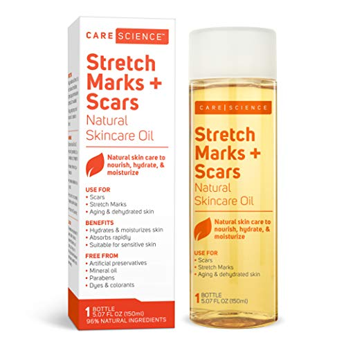 Care Science Stretch Marks + Scars Oil, 5.07 Ounce | For Scars, Stretch Marks, Aging & Dehydrated skin | Natural Ingredients. Vitamin E Oil, Avocado Oil, Olive Oil, Coconut Oil, More