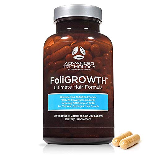 FoliGROWTH Ultimate Hair Nutraceutical – Get Thicker Hair, Reverse Diffuse Thinning - Gluten Free, Vegetarian, 3rd Party Tested - High Potency Biotin, Hair Loss Supplement, Hair and Nails