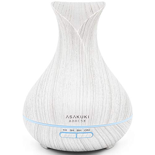 ASAKUKI 400ML Premium, Essential Oil Diffuser, Quiet 5-in-1 Humidifier, Natural Home Fragrance Diffuser and Easy to Clean