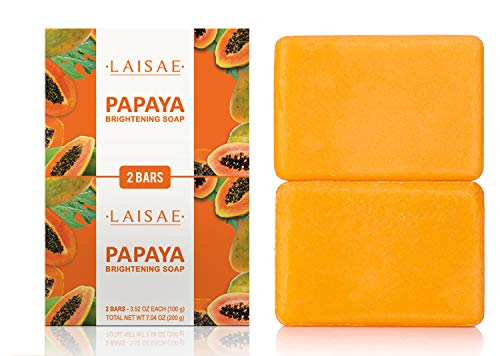 Papaya Brightening Soap - For Exfoliates & Cleanses Body-Facial - Eliminates Acne Scars, Age Spots & Fine Lines -Suitable For All Skin Types (2 Bars/3.52 Oz)