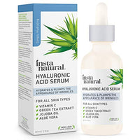 InstaNatural - Hyaluronic Acid Serum - With Vitamin C, Organic & 100% Pure Ingredients for Dry Skin, Wrinkle, Fine Line, Eye Bag Defense - Advanced Anti Aging Moisturizer for Men & Women - 2 oz
