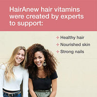 HairAnew Hair Vitamins For Women - Vegan Hair Supplement - Vitamins, Micronutrients, Minerals and Botanicals For Healthy Hair, Skin and Nails - Includes Biotin, Silica & Zinc - 60 Capsules (1)