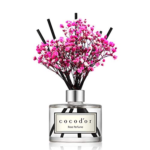 Cocod'or Preserved Real Flower Reed Diffuser/Rose Perfume / 6.7oz(200ml) / 1 Pack/Reed Diffuser Set, Oil Diffuser & Reed Diffuser Sticks, Home Decor & Office