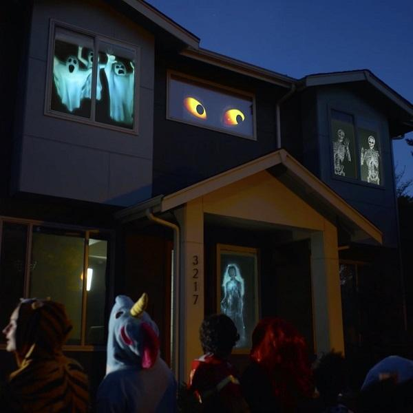 Halloween Hologram Projector - Ghostly Apparition - Christmas Window Projector With 12 Movies for Halloween Christmas Festival Outdoor