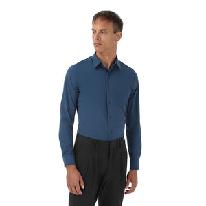 Camicia blu uomo stretch