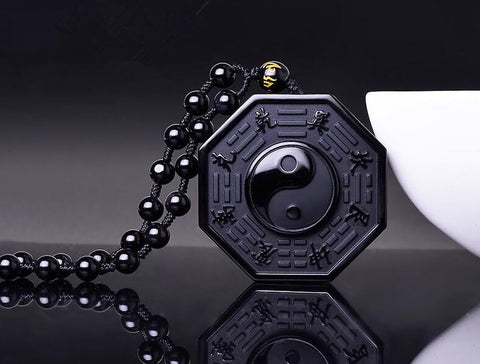 Natural Black Obsidian Yin Yang Bagua Pendant - Club Topnotch