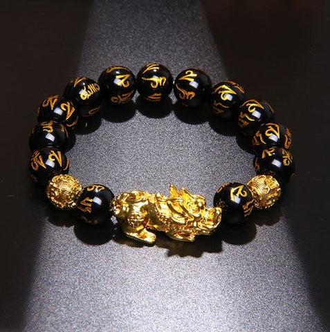 Feng Shui Genuine Black Obsidian Wealth Bracelet - Club Topnotch