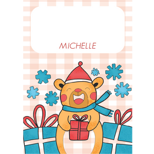 Colored Christmas Bear Gift Tag