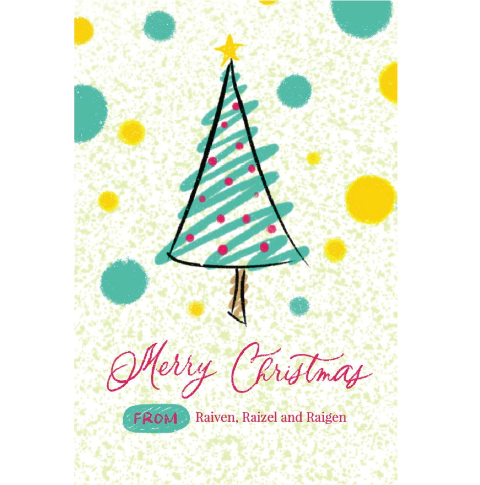 Doodled Christmas Tree Gift Tag - ink scribbler