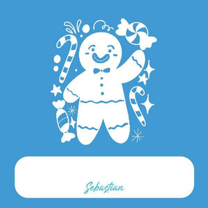 Blue Gingerbread Man Gift Tag