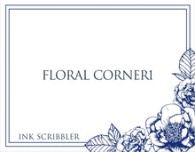 Load image into Gallery viewer, FloralCorner1 Notecards - ink scribbler