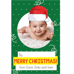 Santa Hat Green Gift Tag