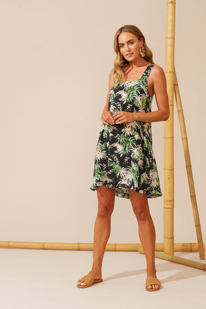 Sardinia Tank Dress - Indigo Palm - The Haven Co