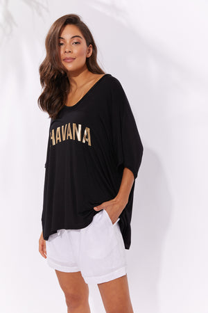 Havana Tshirt - Black - The Haven Co