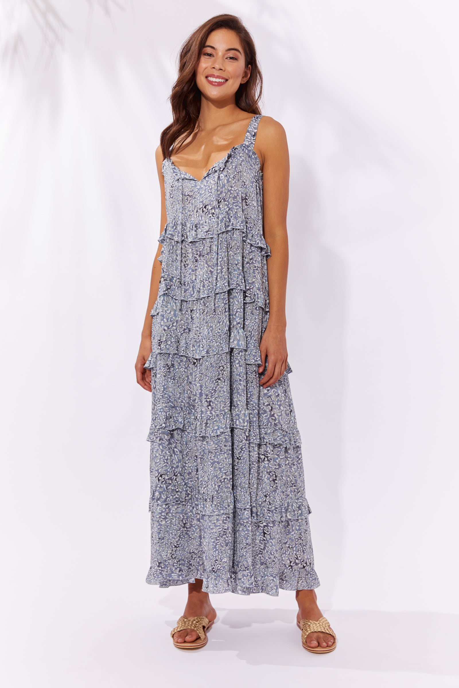 Havana Frill Maxi - Havana Blue - The Haven Co