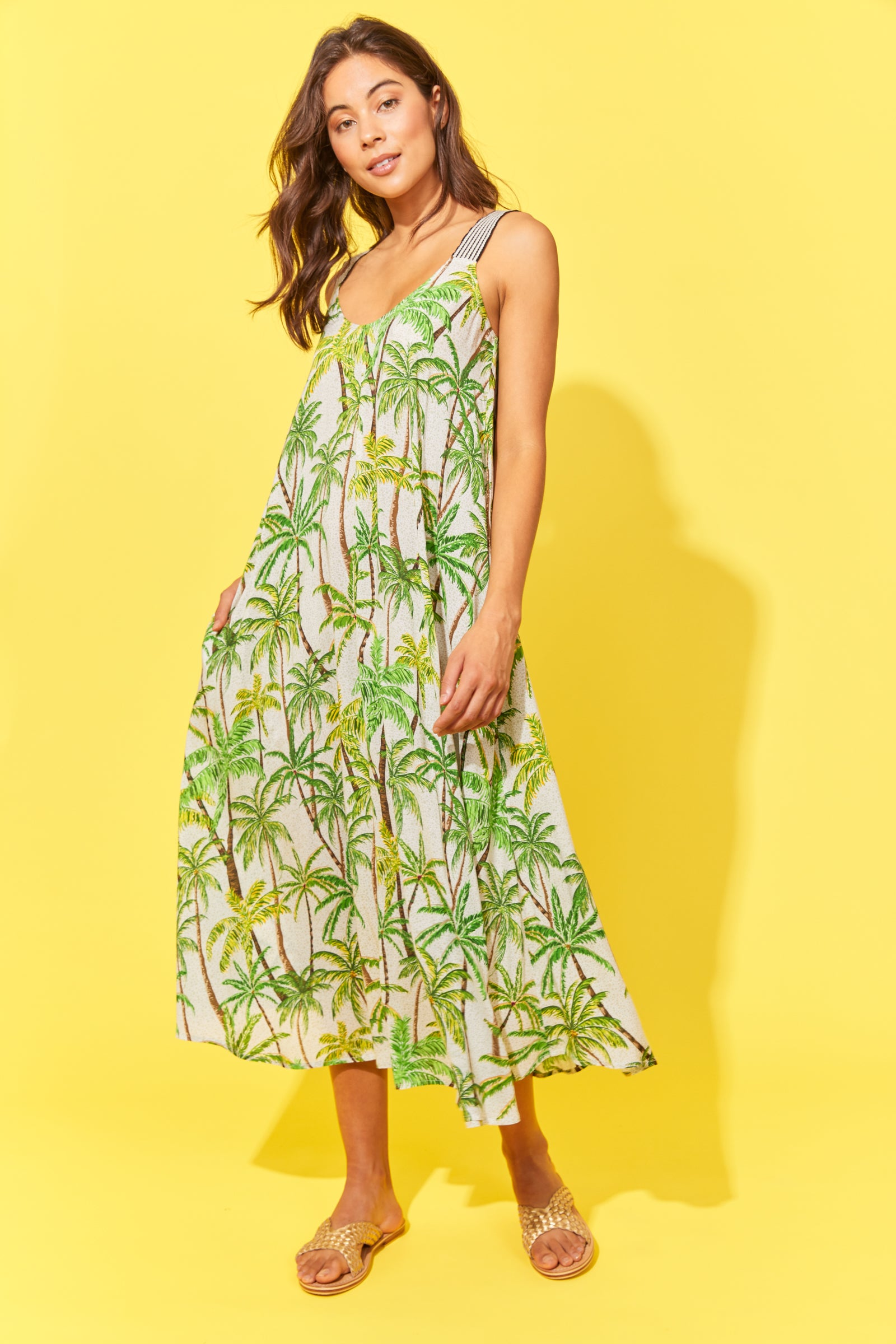 Paradise Tank Maxi - Lime Palm - The Haven Co