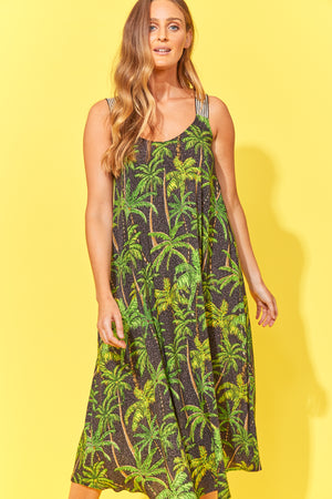 Paradise Tank Maxi - Black Palm - The Haven Co