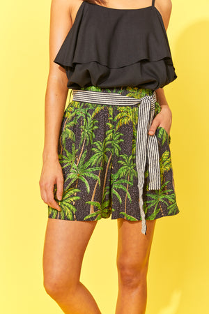 Paradise Shorts - Black Palm - The Haven Co