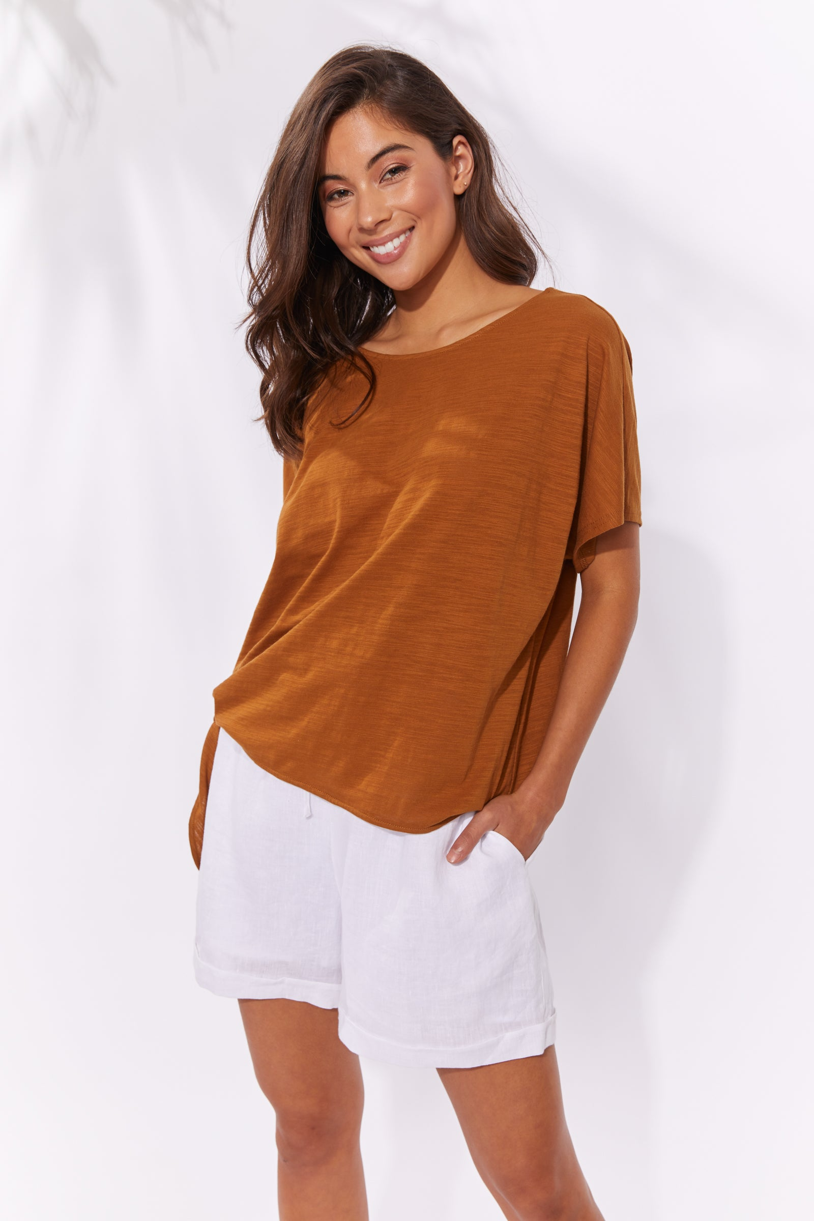 Majorca Tshirt - Caramel - The Haven Co