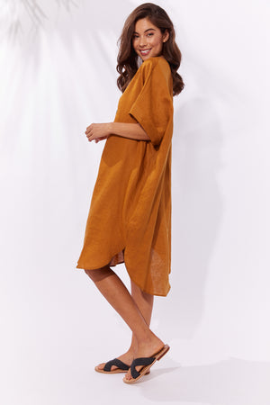 Majorca Shirt Dress - Caramel - The Haven Co