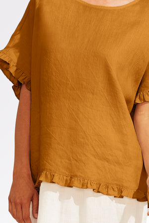 Majorca Frill Top - Caramel - The Haven Co