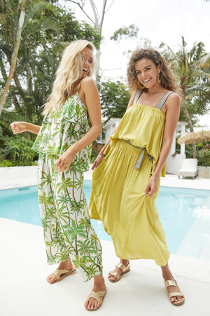 Paradise Pant - Lime Palm - The Haven Co