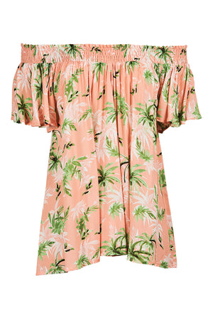 Sardinia Off Shoulder Top - Peach Palm - The Haven Co