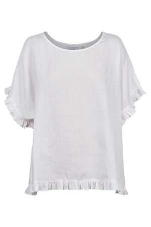 Majorca Frill Top - White - The Haven Co