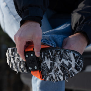 MIDCLEAT Midsole Ice Traction Cleats offer superior grip and stability. MIDCLEAT is designed to provide versatile traction for anyone who frequently moves from outdoors to indoors as the cleat can easily and quickly be flipped to the top of the boot to prevent slipping or marking floors
