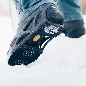 STRIDE Full Foot Ice Traction Overshoes were designed for maximum traction on ice and snow. Multi-directional traction plates on the STRIDE bite into snow and ice.