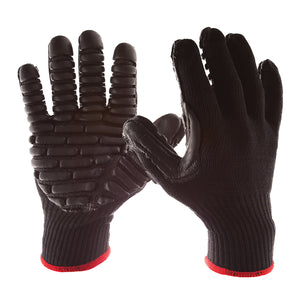 "BLACKMAXX Anti-Vibration Gloves are an economical solution to vibration protection. Nylon/cotton knitted material ensures stretch and breathability. The palms are coated with ""pods"" of lightweight cellular Chloroprene. This design ensures extreme comfort. BLACKMAXX gloves use encapsulated air to cushion and dampen vibrations, giving the user optimum dexterity with a lightweight feel and reduced bunching."