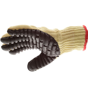 "BLACKMAXX BLADE Anti-Vibration/Anti-Slash Gloves are an economical solution to vibration and slash protection. Made with 60% Kevlar and 40% cotton seamless knit materials (7 gauge liner) to incorporate superior slash protection. The palms are coated with ""pods"" of lightweight cellular Chloroprene. This design ensures extreme comfort."