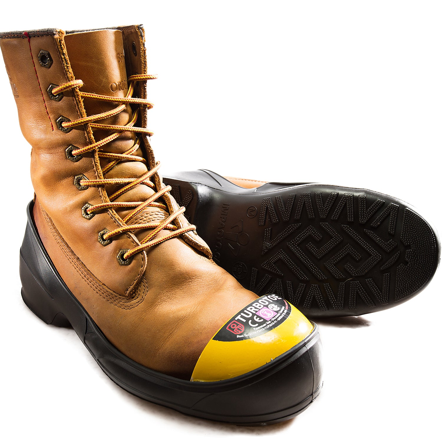 Turbotoe Steel Cap Overshoes are steel toe caps that fit over existing shoes to give you temporary steel toe cap protection instead of needing steel toe boots
