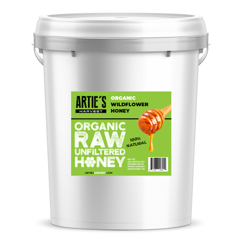 Arties Harvest Organic Wilflower Honey American Raw Unfiltered 100% Natural Pure Bee Honey 5 gallon pail 60 pounds