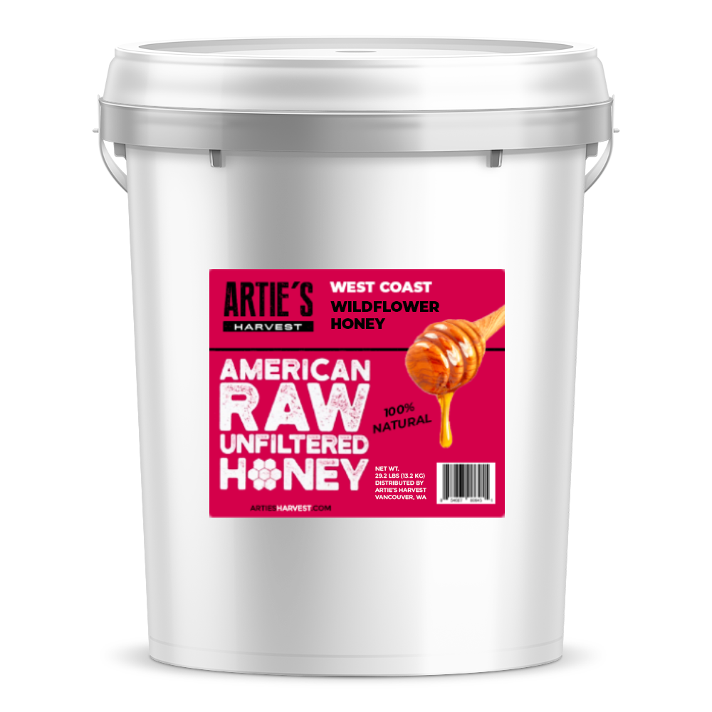 Arties Harvest West Coast Wilflower Honey American Raw Unfiltered 100% Natural Pure Bee Honey 5 gallon pail