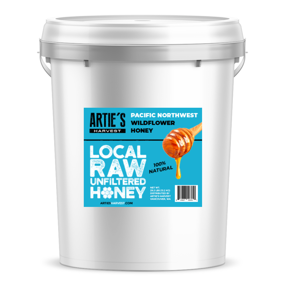 Arties Harvest Local Pacific Northwest Wilflower Honey American Raw Unfiltered 100% Natural Pure Bee Honey 3.5 gallon pail 40 pounds