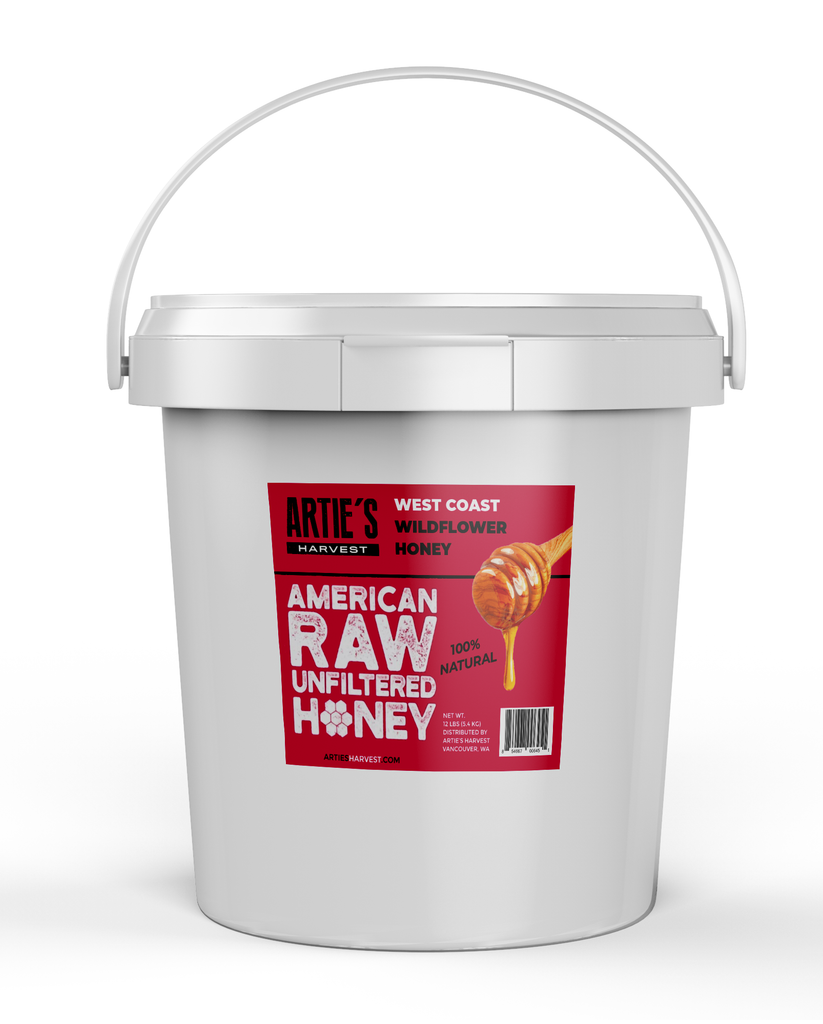 Arties Harvest American Raw Unfiltered Honey West Coast Wildflower 1 Gallon Pail