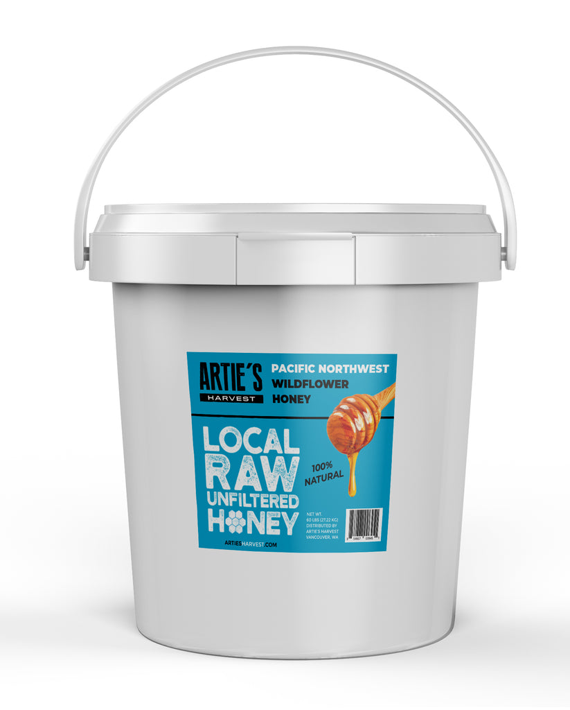 Arties Harvest Local Pacific Northwest Wilflower Honey American Raw Unfiltered 100% Natural Pure Bee Honey 1 gallon pail 12 pounds