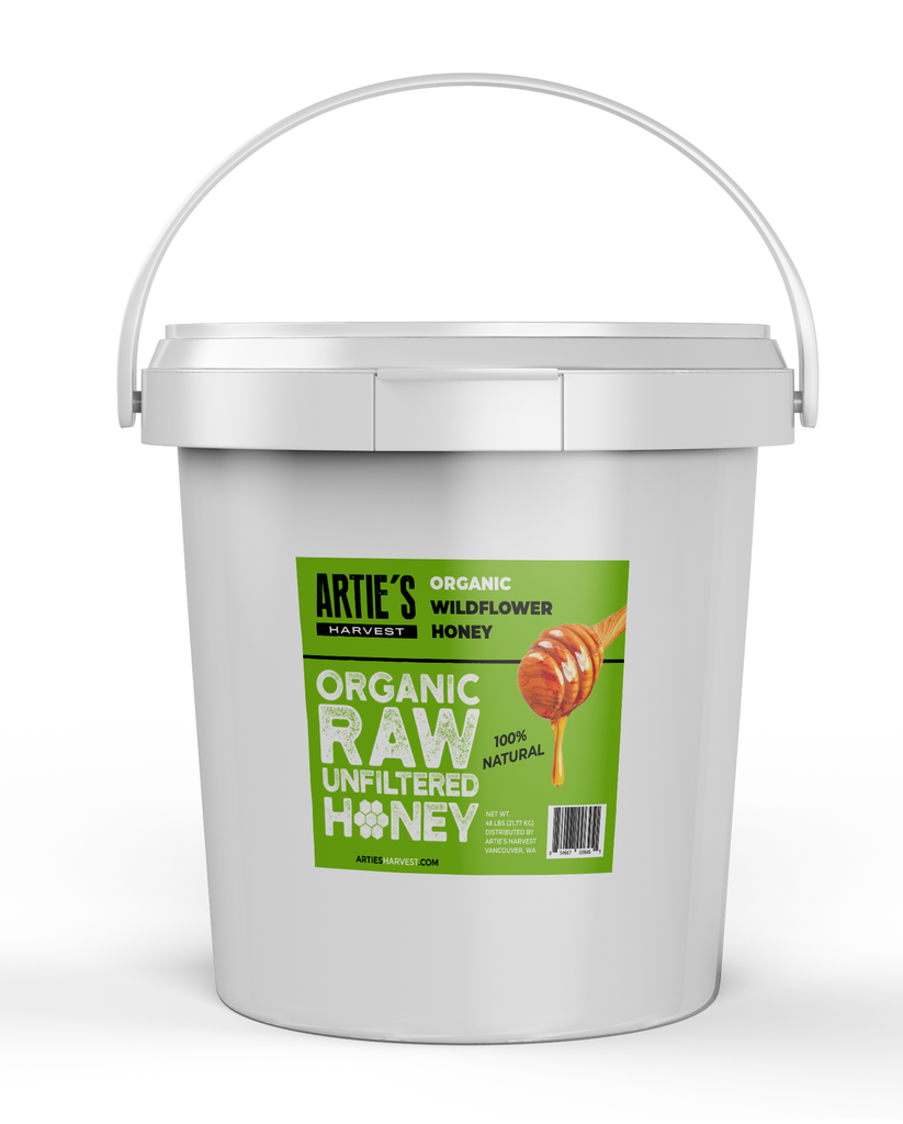 Arties Harvest Organic Wilflower Honey American Raw Unfiltered 100% Natural Pure Bee Honey 1 gallon pail 12 pounds