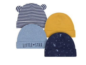 Just Born Organic 4-pack Space-Theme Hats  Modelo 1196642P0B020