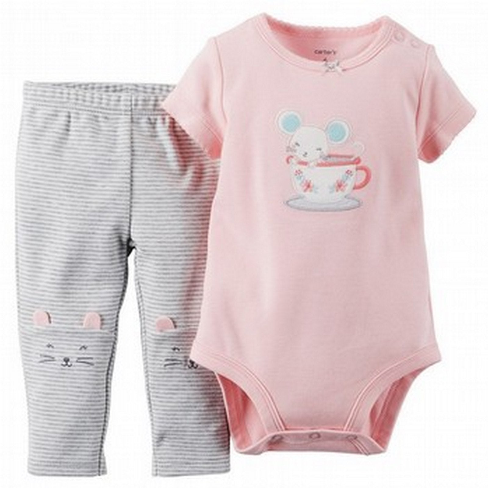 Carter's Pink Stripe 2 Piece Bodysuit & Pant Set  Modelo 121G172
