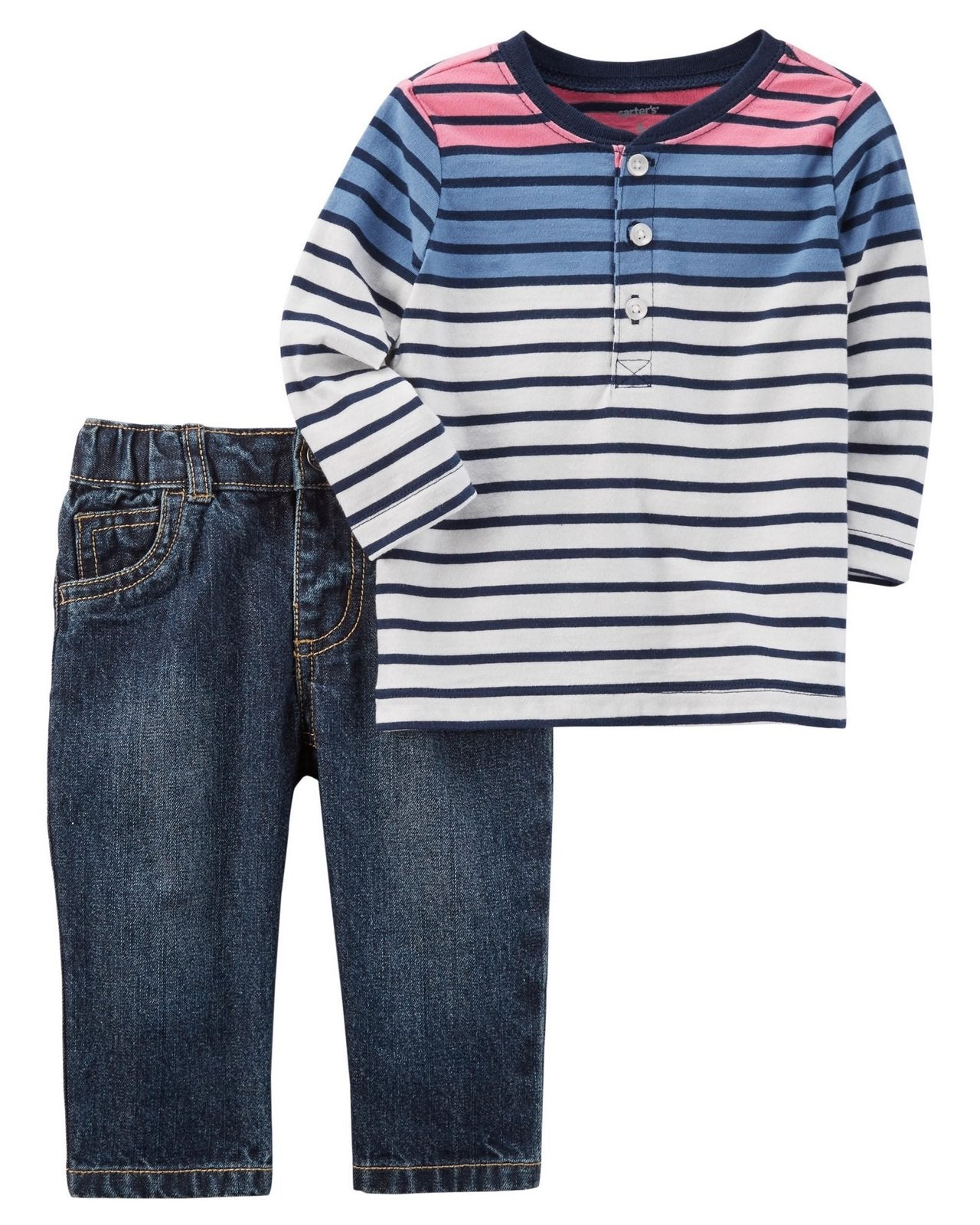 Carter's 2-Piece Striped Henley & Denim Jean Set  Modelo 127H007