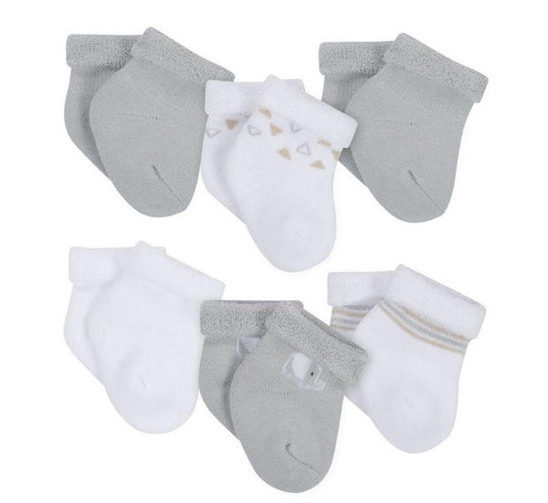 Gerber 6-Pack Neutral Grey Elephant Wiggle Proof Terry Socks  Modelo 146976230