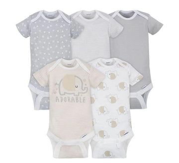 Gerber 5-pack Neutral Grey Elephant Onesies® Brand Short Sleeve Bodysuits  Modelo 156875230