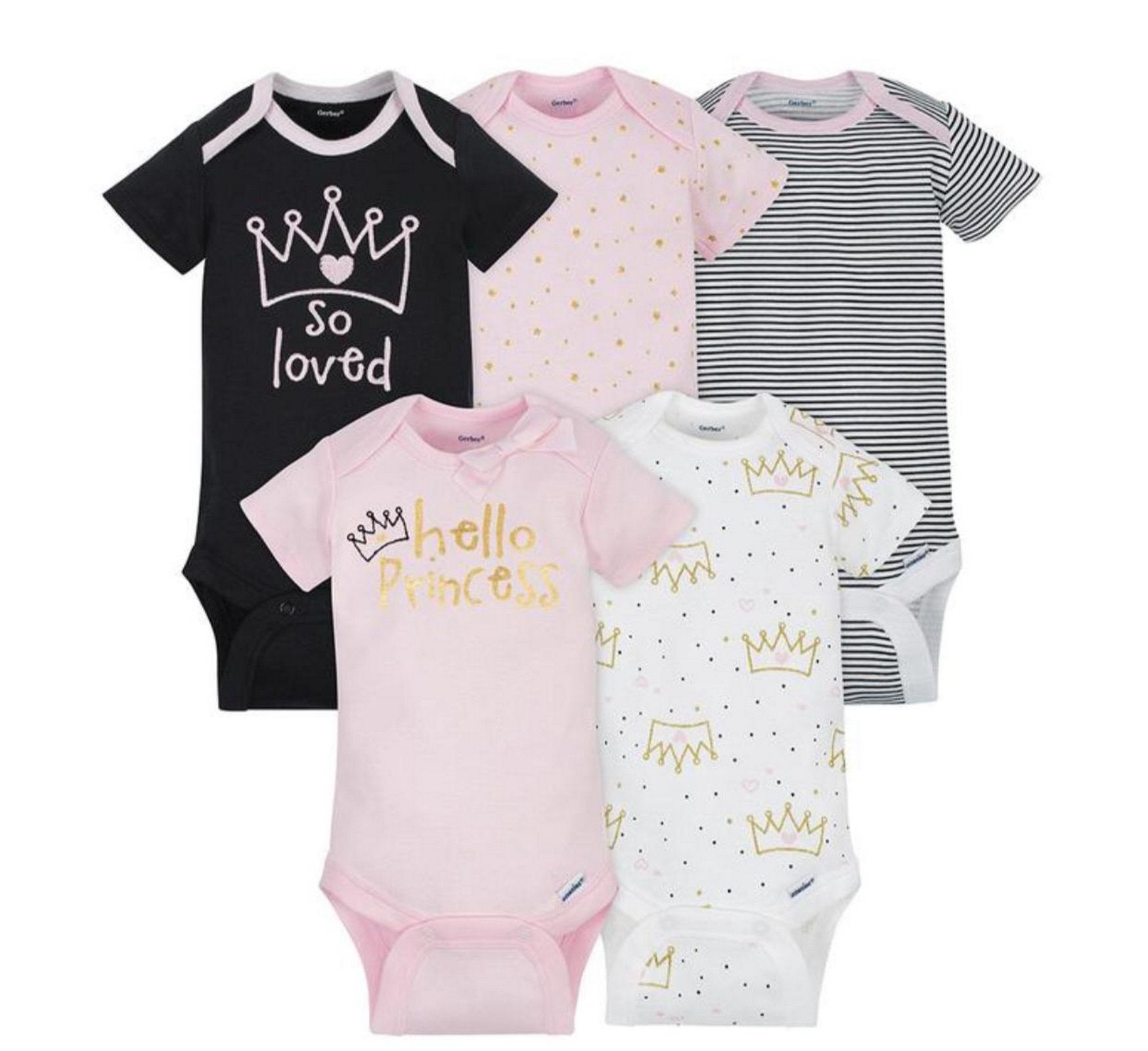Gerber 5-Pack Girls Princess Onesies® Brand Short Sleeve Bodysuits  Modelo 156875230