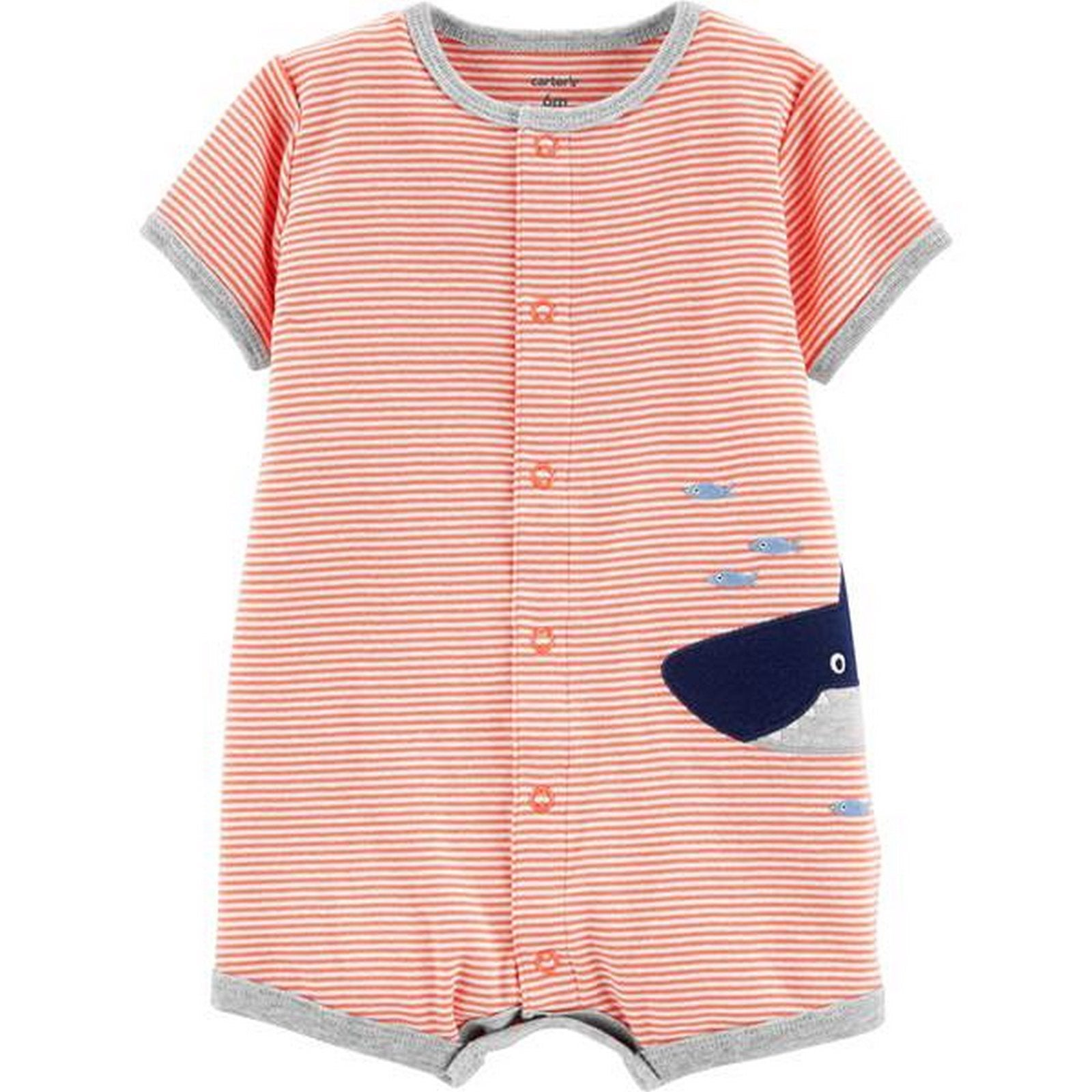 Carter's Striped Shark Snap-Up Romper  Modelo 16475219