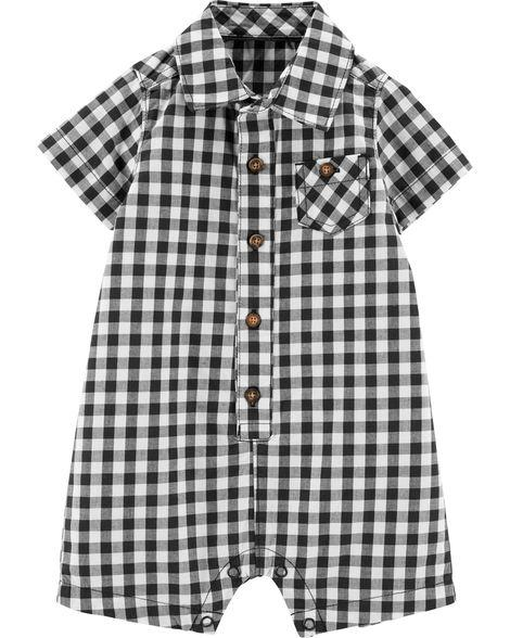 Carter's Gingham Button-Front Romper Modelo 16541610